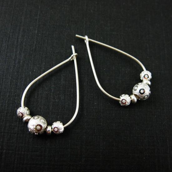 Sterling Silver Teardrop Hoop Earrings, Silver Beaded Earrings, Bead and Hoops, Embellished Beads