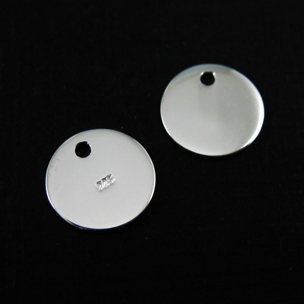 Sterling Silver Round Tag 10mm (sold per 2 pcs)