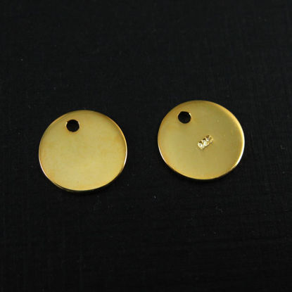 18K Gold plated Sterling Silver Round Tag 10mm (sold per 2 pcs)