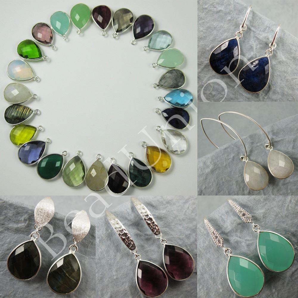 Gemstone Pendant and Earwire-Earring Kit-Solid Sterling Silver Earwire,Bezel Gemstome Set-Custom Earrings-Pear Shape-22mm