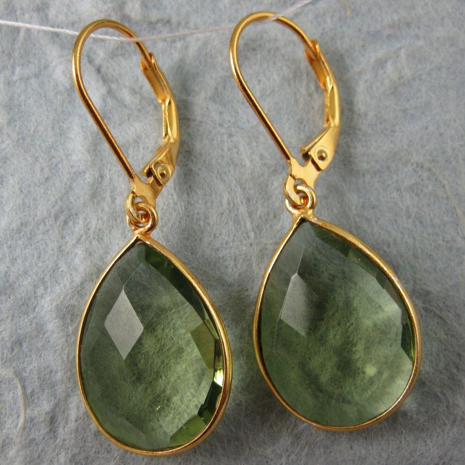 Gemstone Pendant and Earwire-Gold Plated Sterling Silver Earring Kit-Vermeil Earwire,Bezel Gemstome Set-Pear Shape-22mm