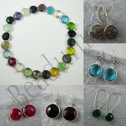 Gemstone Pendant and Earwire-Earring Kit-Solid Sterling Silver Earwire,Bezel Gemstome Set-Custom Earrings-Round Shape-15mm