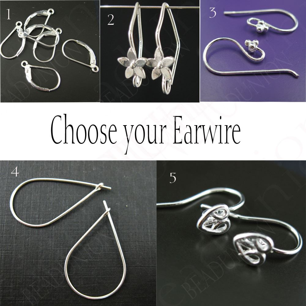 Gemstone Pendant and Earwire-Earring Kit-Solid Sterling Silver Earwire,Bezel Gemstome Set-Custom Earrings-Round Shape-15mm