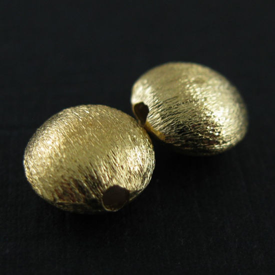 Gold Beads, Textured Gold Spacers, Vermeil Beads, Gold plated Sterling Silver Findings- Coin Shaped Beads-8mm (2 pcs)