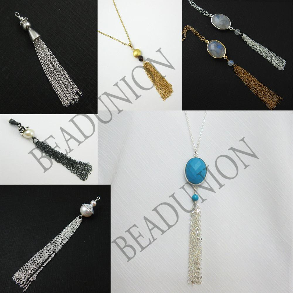 Tassel- Silver Tassel with Bezel Gem ,Sterling Silver Round Gemstone Tassel - Tassel Charm-Jewelry Findings-Jewelry Supply -60mm