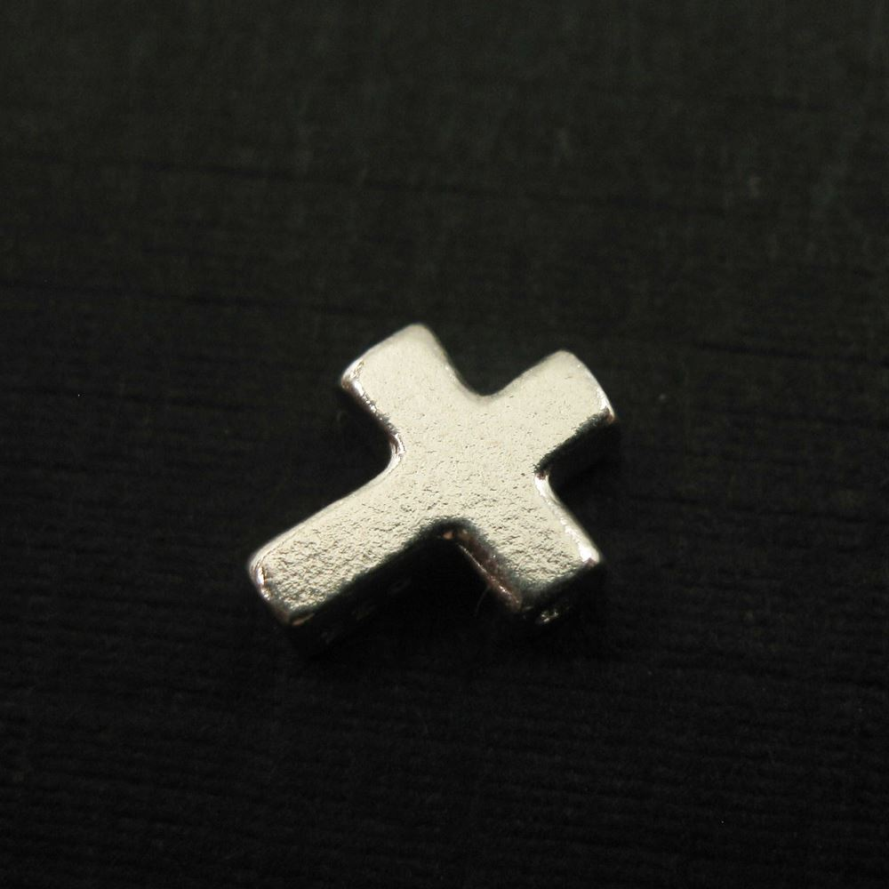 Sterling Silver Tiny Cross Charm Connector, 7mm ( Sold per 5 pieces)