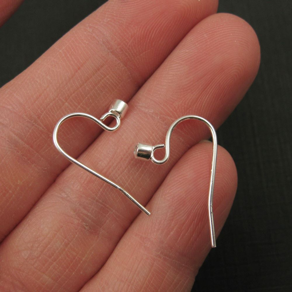 Sterling Silver Earwire and CZ Stone, Simple Fish Hook with CZ Cup ( 4 pcs, 2 pairs)