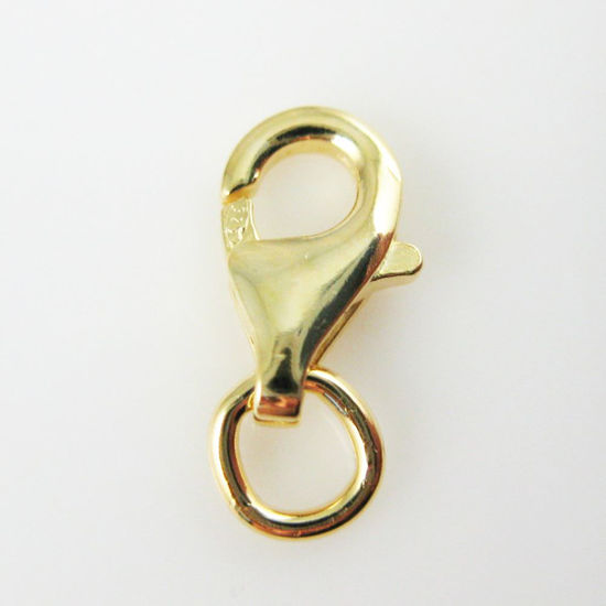 Gold Plated Findings, Gold Clasp, Vermeil 925 Sterling Silver Clasp - Lobster Style 9mm (sold per 5 pieces)