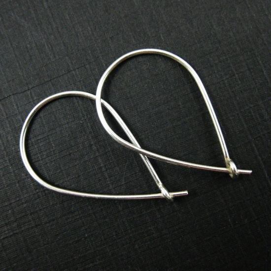 925 Sterling Silver Hoops - Large Thick Teardrop Earrings - Hoops - 30mm by 20mm (4pcs - 2 pairs)