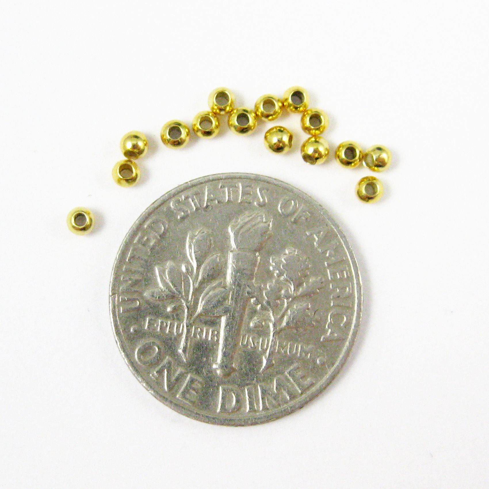 Vermeil, Gold plated over Sterling Silver Findings - Smooth Round Shaped Beads - 2mm ( 50 pcs)