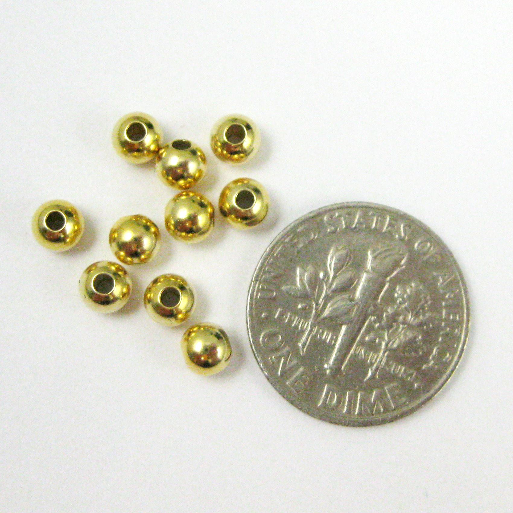 Vermeil, Gold plated over Sterling Silver Findings - Smooth Round Shaped Beads - 4mm ( 10 pcs)