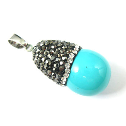 Howlite Turquoise Waterdrop Pendant, Zircon Pave Stone Setting Teardrop 27mm
