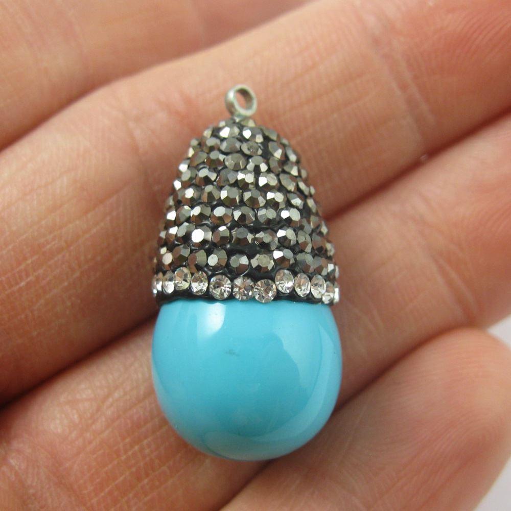 Howlite Turquoise Waterdrop Pendant, Zircon Pave Stone Setting Teardrop 27mm