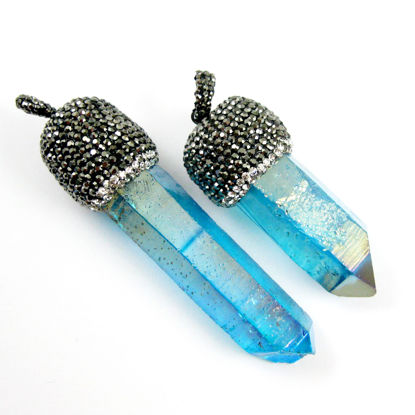 Natural Blue Aura Quartz Titanium,Large Spike Pendant,Pendulum Pendant, Zircon Pave Boho Pendant