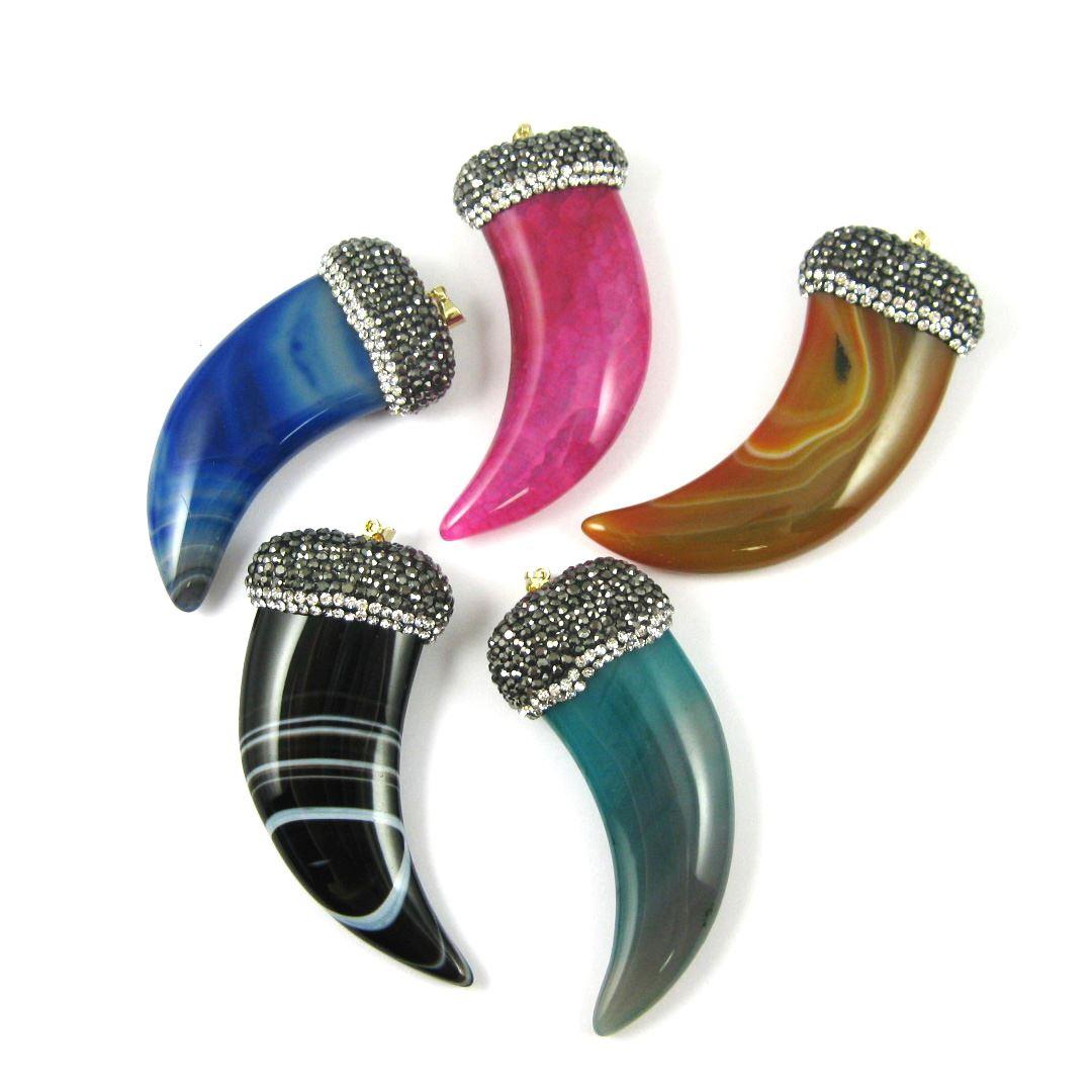Pave Boho Pendant,Agate Horn Pendant,Zircon Pave Lace Agate Pendant