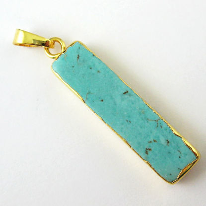 Turquoise Bar Pendant, Long Gemstone Bar Gold Dipped Pendant with Bail - 34mm