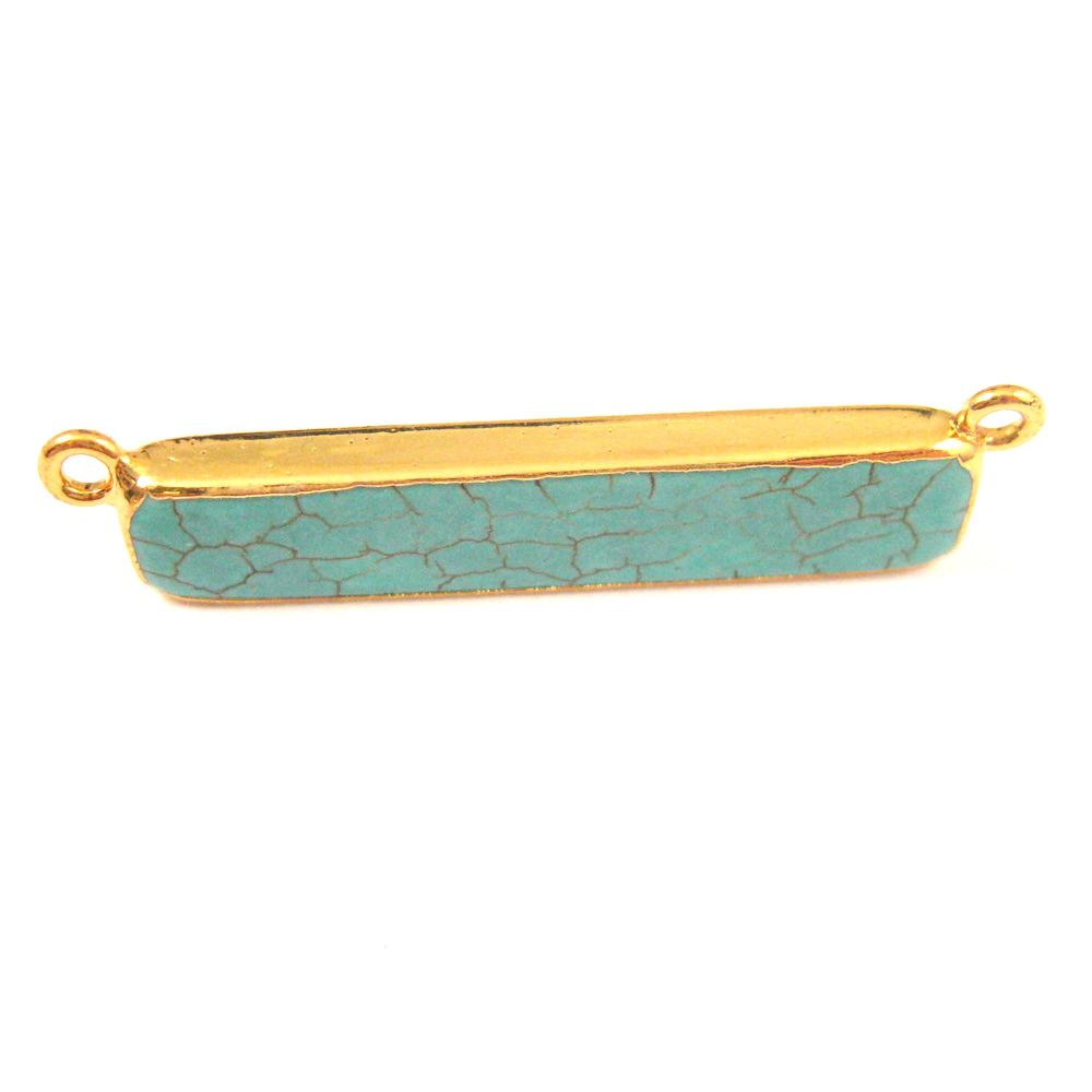 Turquoise Bar Connector Pendant,Corner Connector Rings - Gold plated Edging - 41mm