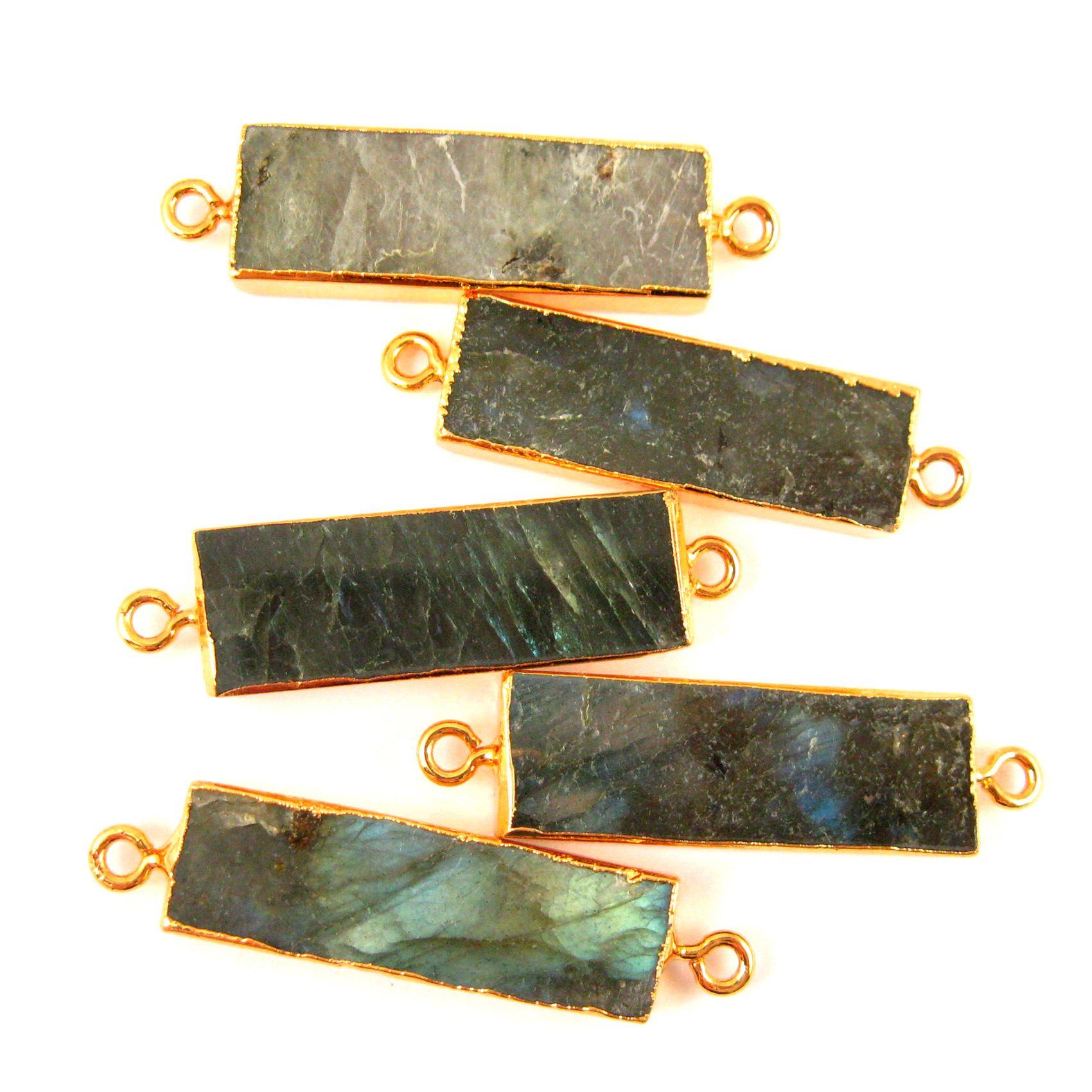 Labradorite Bar Connector, Gold plated Edging Short Bar Pendant, Side Ring Connector - 30mm