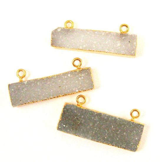 Natural Druzy Agate Gemstone Bar Pendant, Gold Dipped Edging , Grey Gem Bar Connector - 36mm
