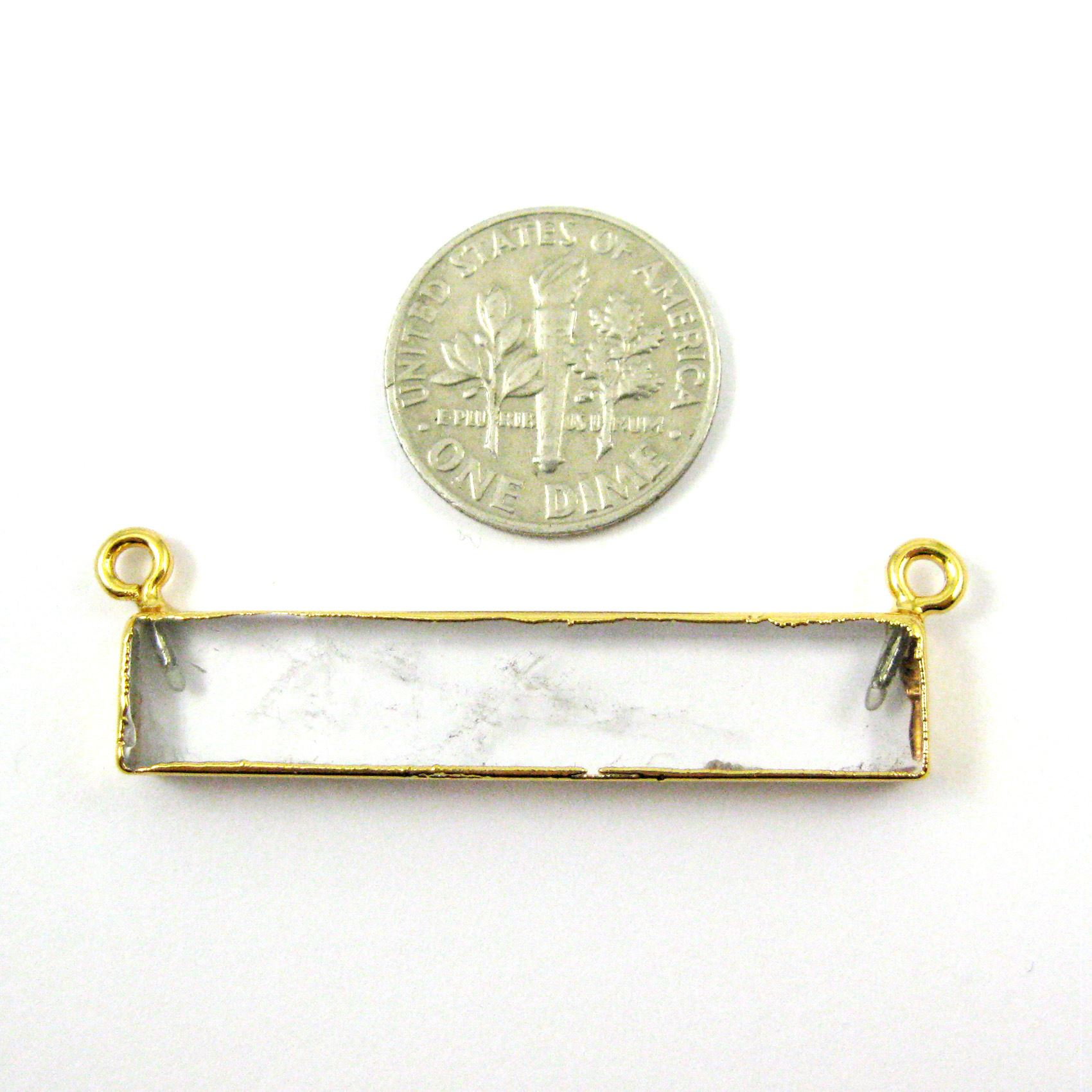 Natural Crystal Bar Pendant,Gold dipped Bar, Bar Connector - 40mm