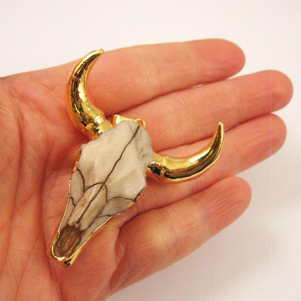 Cattle Skull Pendant, Resin Bone Skull Pendant, 24K Gold Edging, Huge Cow Skull Pendant, Horned Bone Skull,57mm