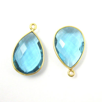 Bezel Gemstone Pendant - 13x18mm Faceted Pear Shape - Blue Topaz Quartz (Sold per 2 pieces)
