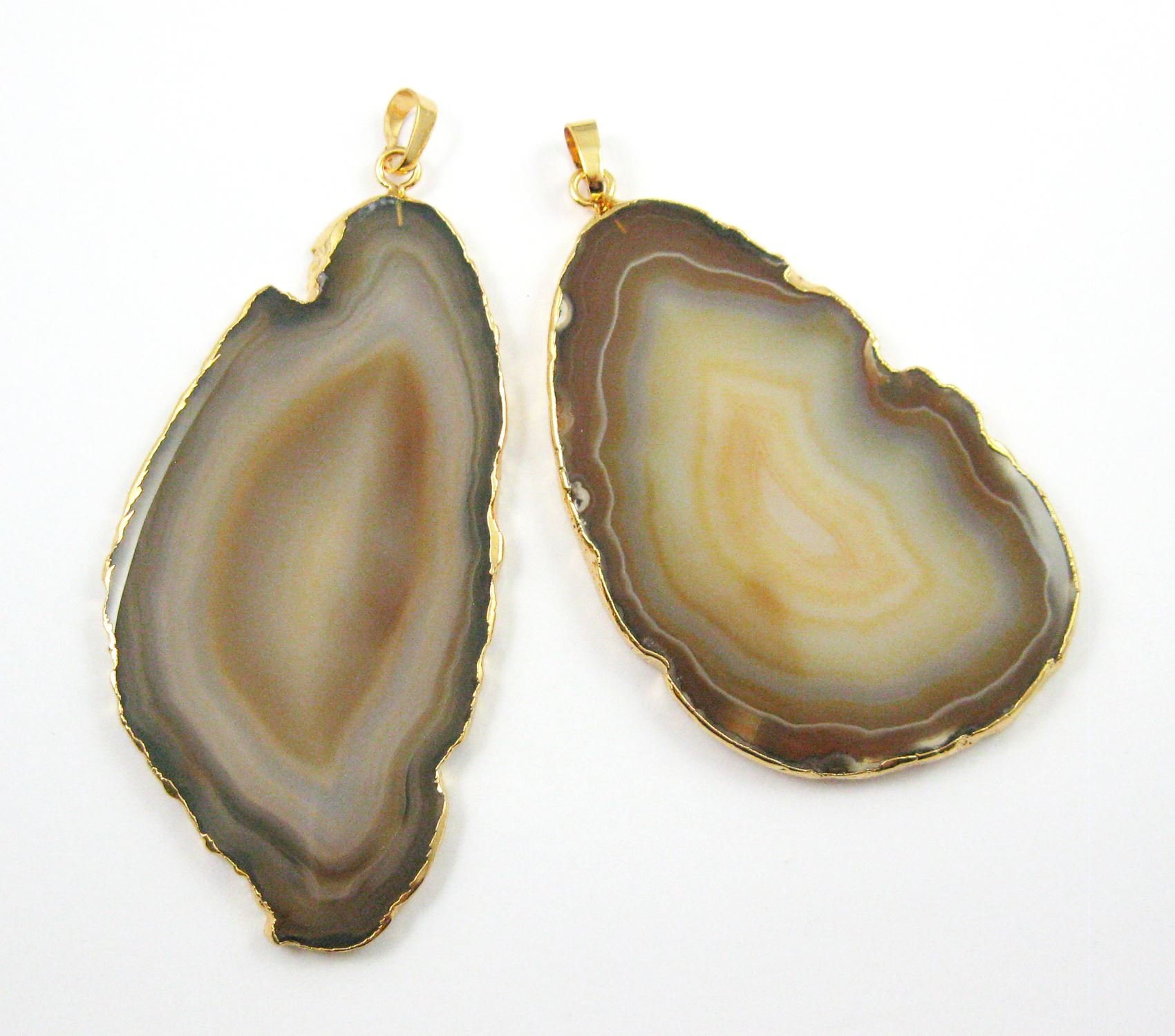 Agate Slice Pendant,Huge Pendant,Natural Agate Organic Oval Shape Pendant Gold Edging and Bail, Original Natural Color