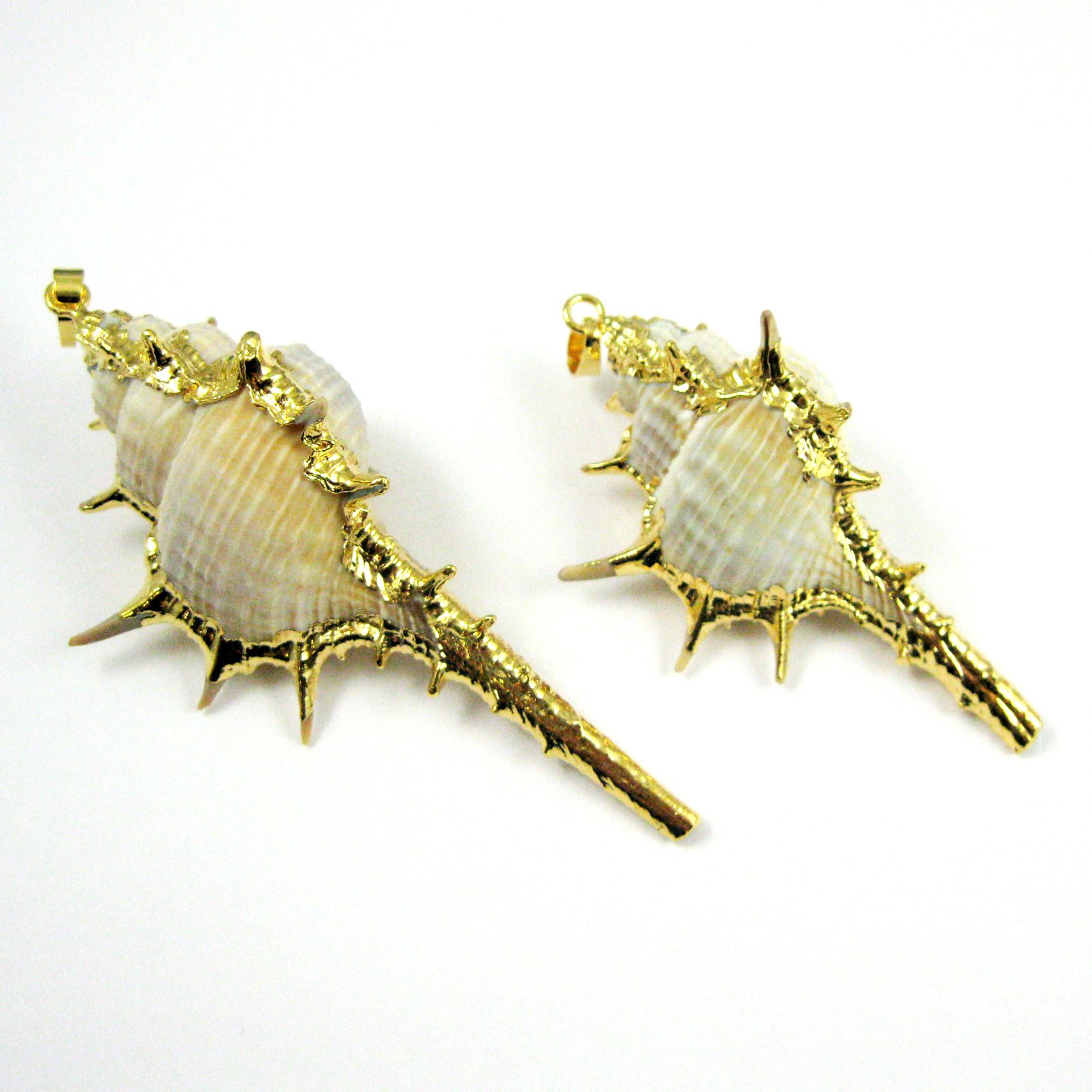Shell Pendant,Natural Cabrits Murex Pendant, Gold wrapped Shell Pendant, Large Spike Pendant