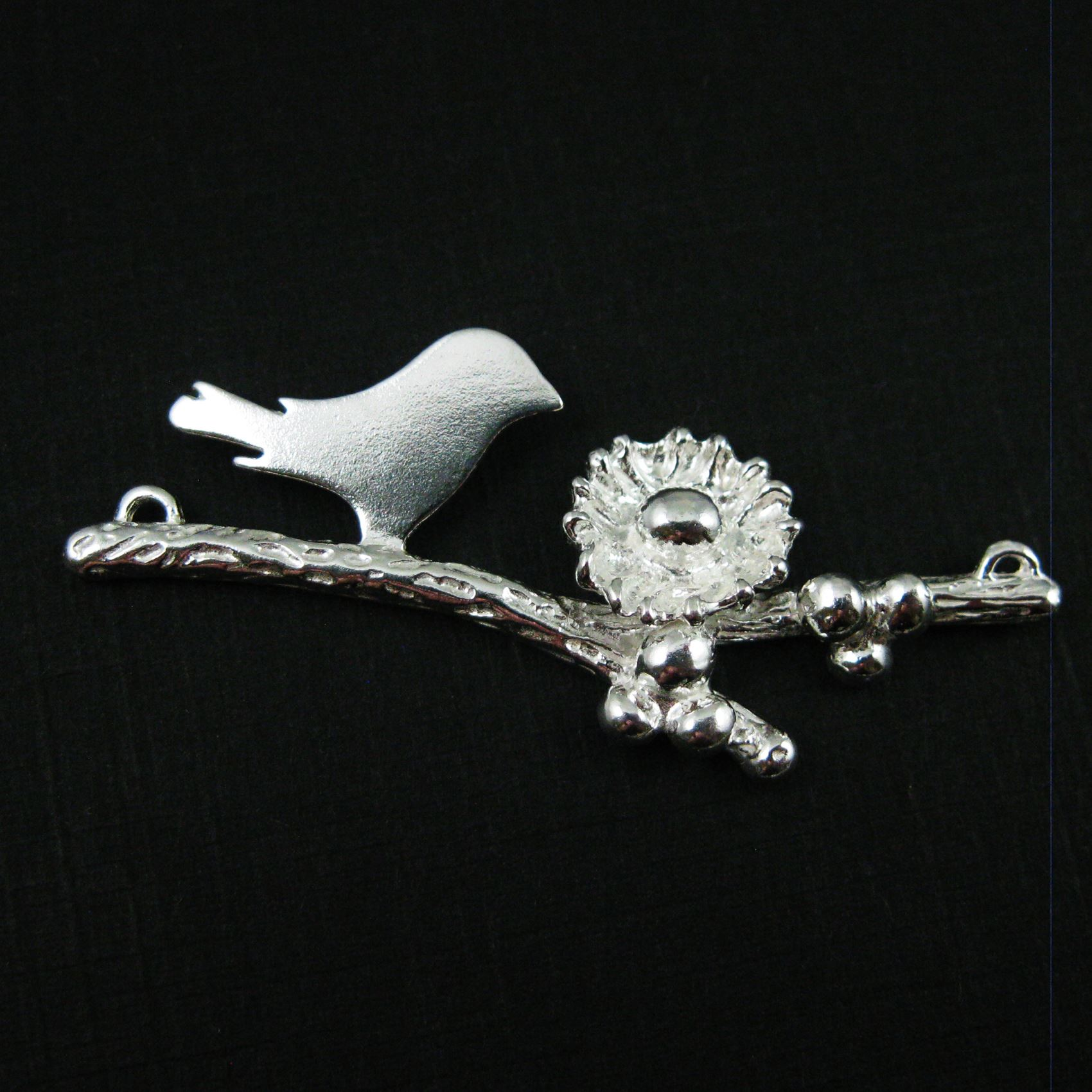 925 Sterling Silver, Mother and Baby Bird Branch and Nest Connector - 1 Egg - 48mm