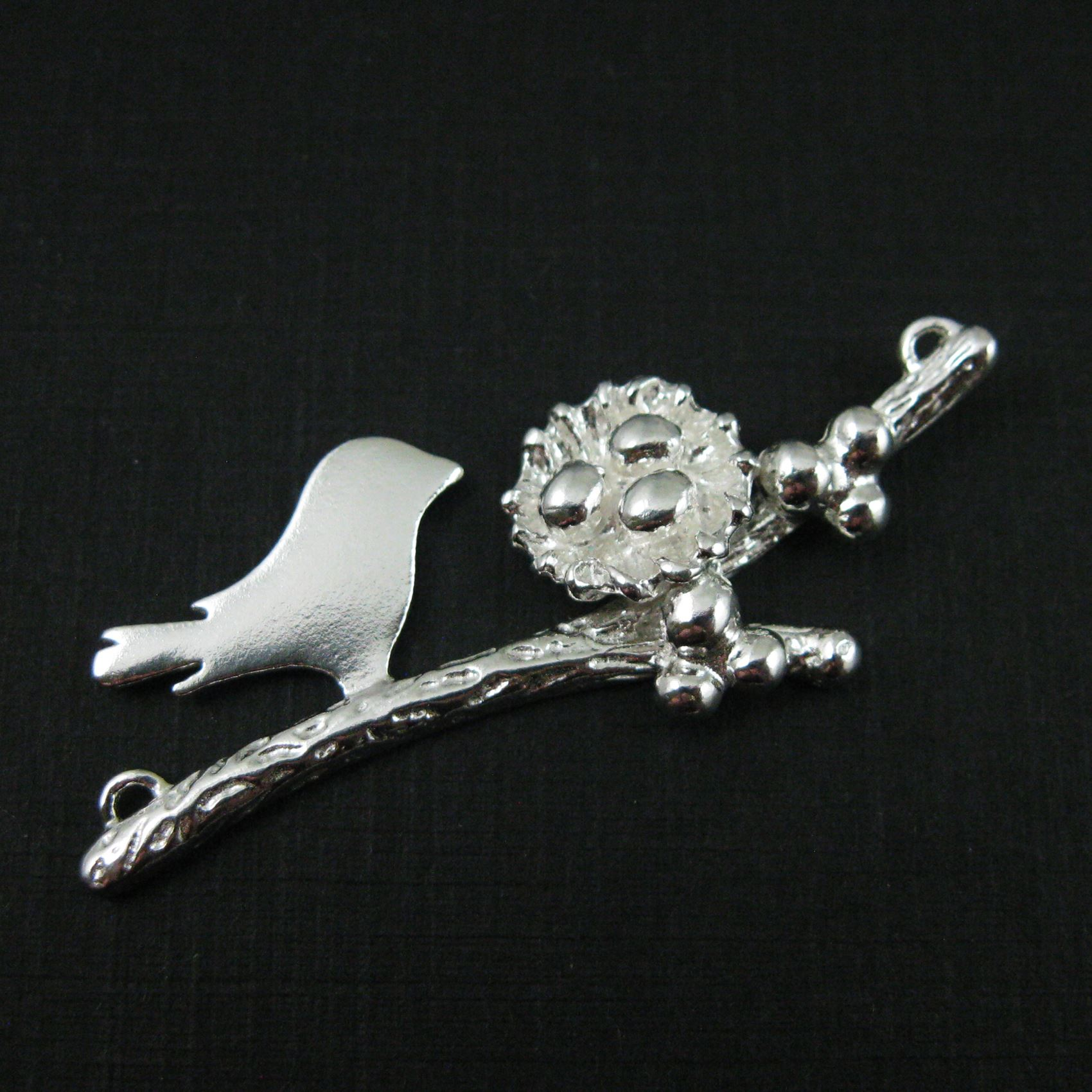 925 Sterling Silver, Mother and Baby Bird Branch and Nest Connector - 3 Eggs - 48mm