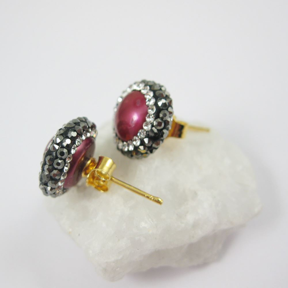 Hot Pink Freshwater Pearl Pave Earring, 22K Gold plated Sterling Silver Posts, Pearl and Pave Earrings - 1 pair