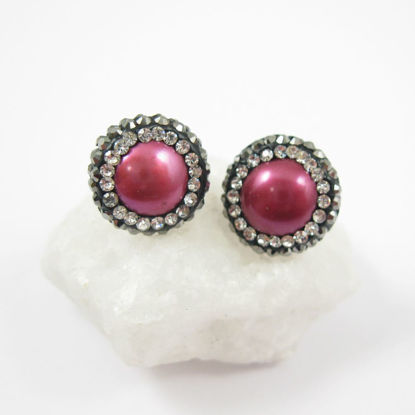 Hot Pink Freshwater Pearl Pave Earring,  Sterling Silver Posts, Pearl and Pave Earrings - 1 pair