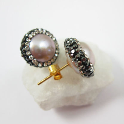 Pink Freshwater Pearl Pave Earring, 22K Gold plated Sterling Silver Posts, Pearl and Pave Earrings - 1 pair