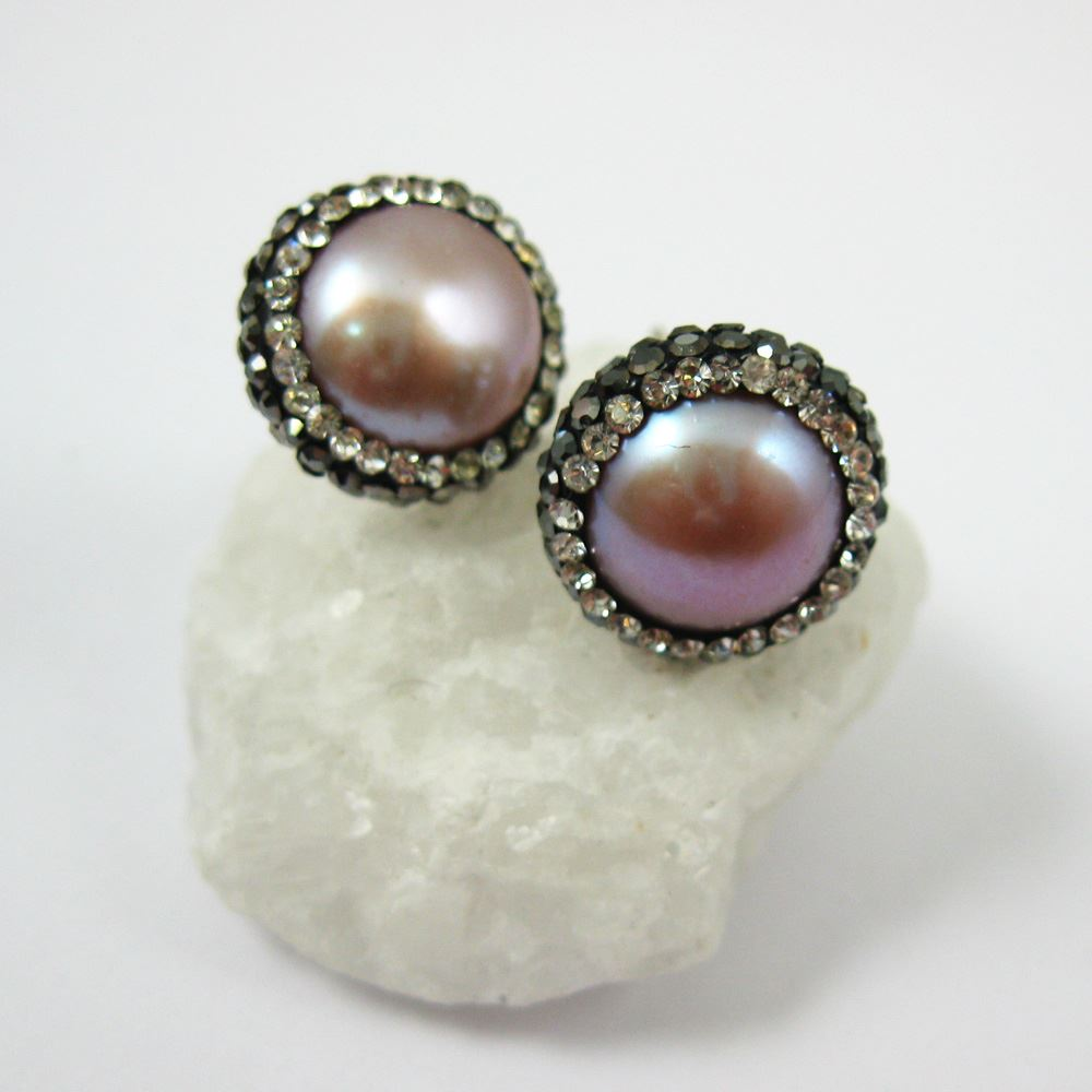 Pink Freshwater Pearl Pave Earring, Sterling Silver Posts, Pearl and Pave Earrings - 1 pair
