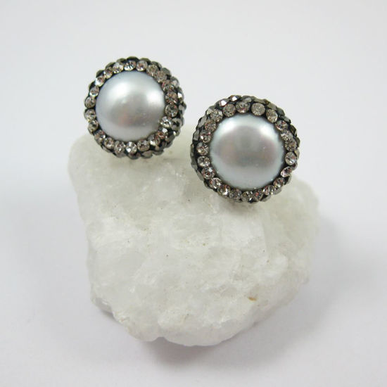 Silver Freshwater Pearl Pave Earring, Sterling Silver Posts, Pearl and Pave Earrings - 1 pair
