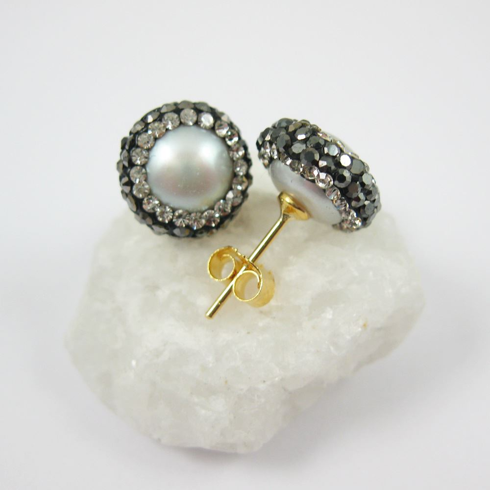 Silver Freshwater Pearl Pave Earring, 22K Gold plated Sterling Silver Posts, Pearl and Pave Earrings - 1 pair