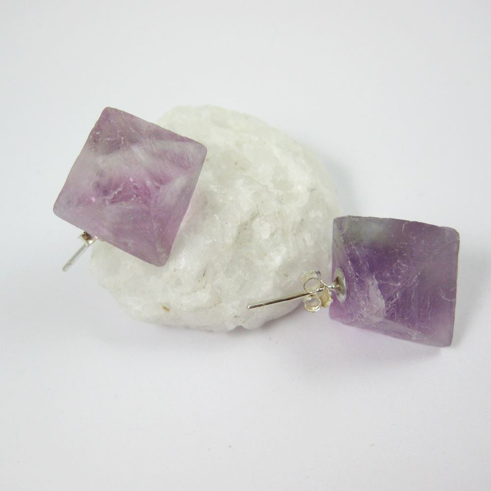 Raw Crystal Gemstone Cube Earrings, Raw Crystal Earrings,Genuine Purple Crystal, Multi Faceted - 1 pair