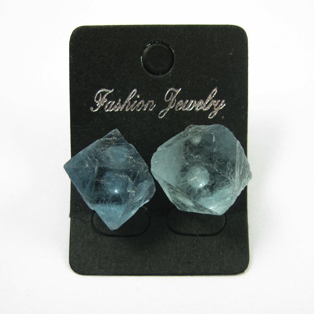 Raw Crystal Gemstone Cube Earrings, Raw Crystal Earrings,Genuine Blue Crystal, Multi Faceted- 1 pair