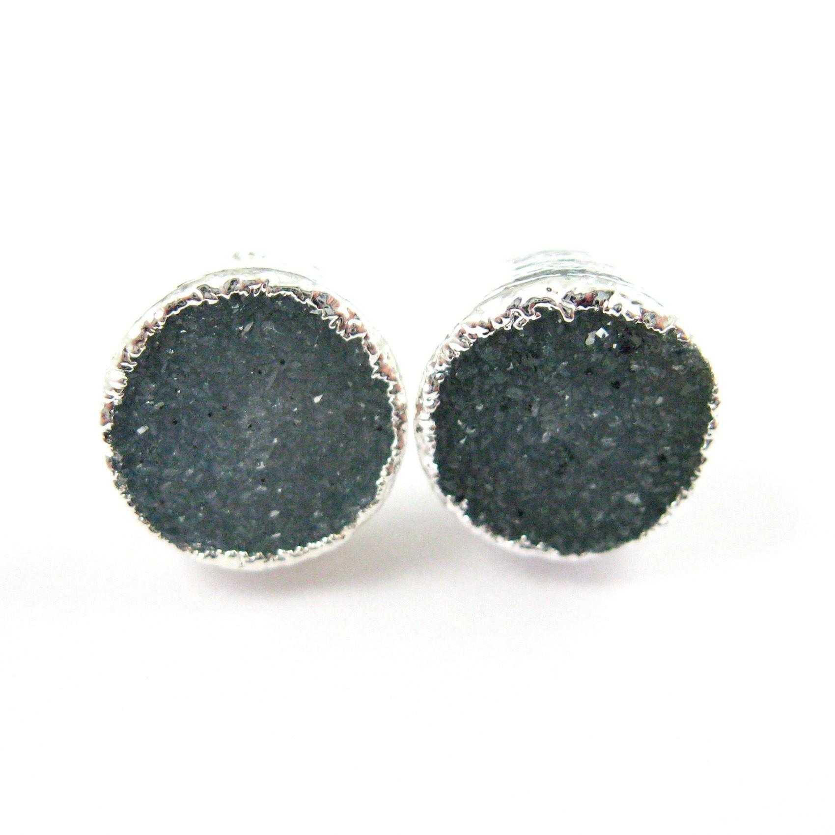 Blue Agate Geode Druzy Sterling Silver Earrings