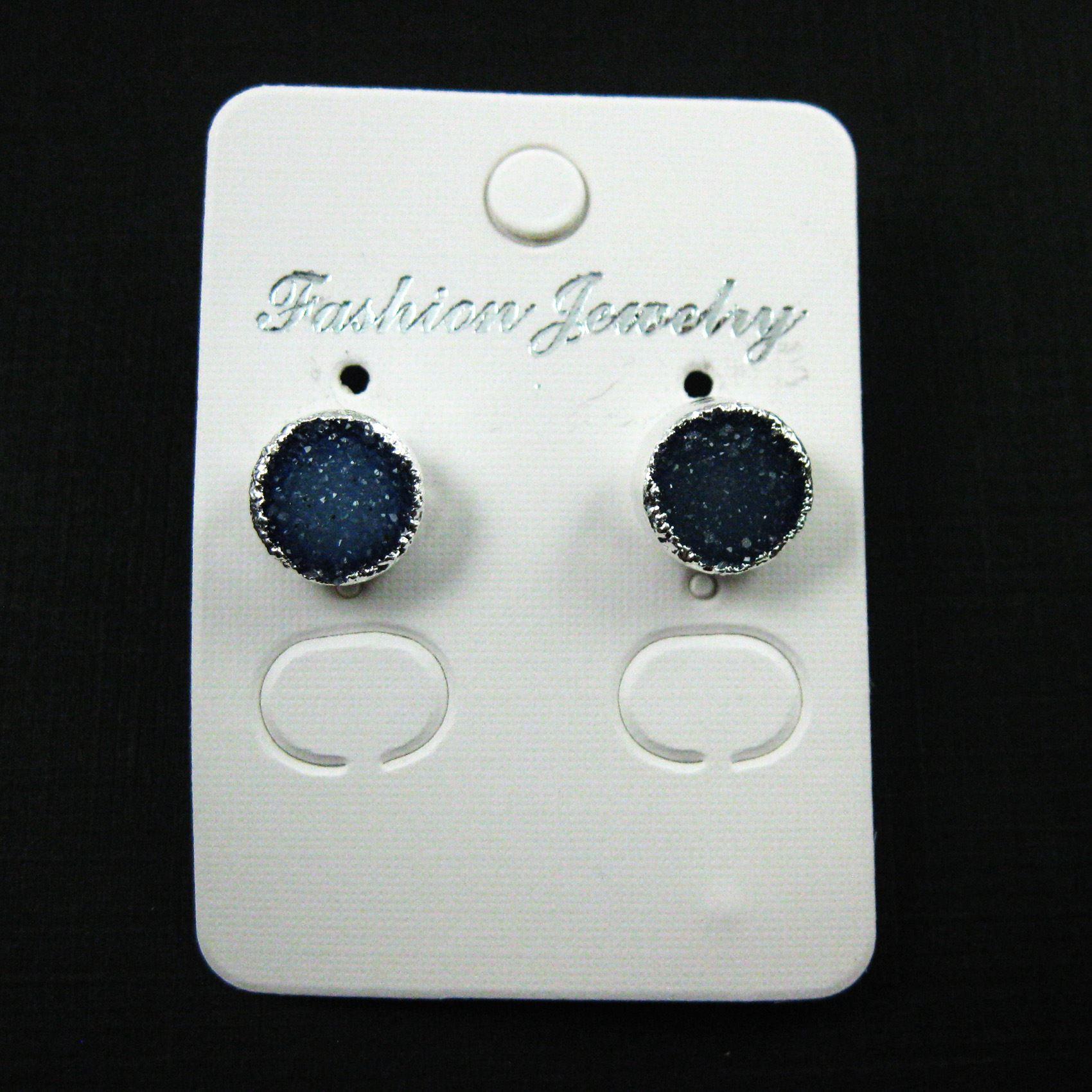 Druzy Earring Studs,Blue Grey Druzy Agate,Gemstone Stud Earrings -Sterling Silver- Round 10mm - 1 Pair