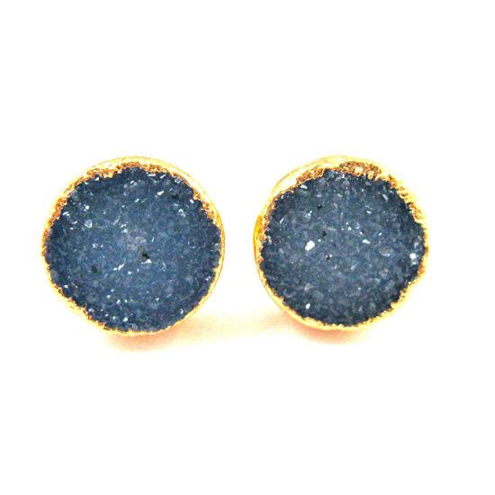 Druzy Earring Studs,Blue Grey Druzy Agate,Gemstone Stud Earrings -Gold plated Sterling Silver- Round 10mm - 1 Pair
