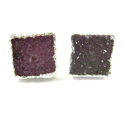 Druzy Earring Studs, Pink Druzy Agate,Gemstone Stud Earrings - Sterling Silver- Square 10mm - 1 Pair