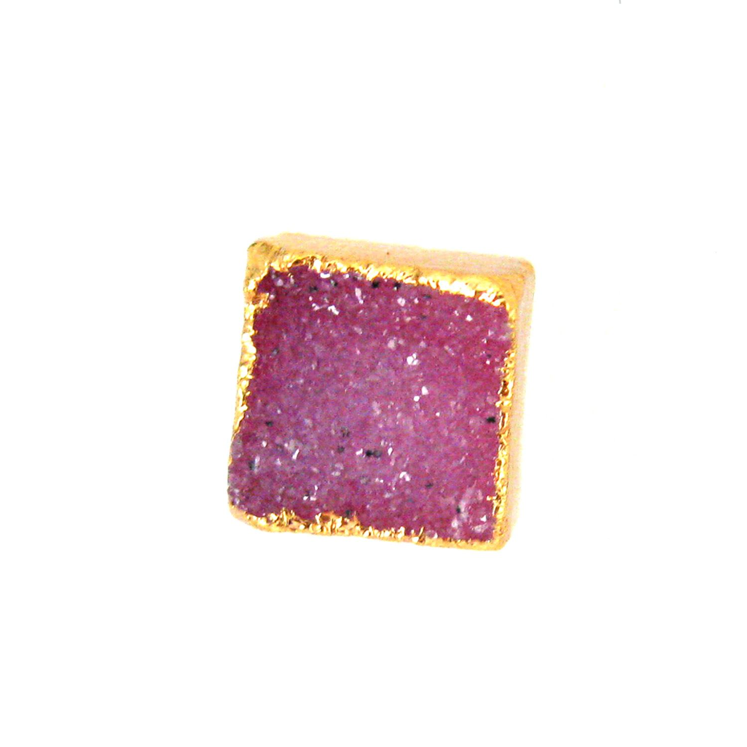 Druzy Earring Studs, Pink Druzy Agate,Gemstone Stud Earrings - Gold plated Sterling Silver- Square 10mm - 1 Pair