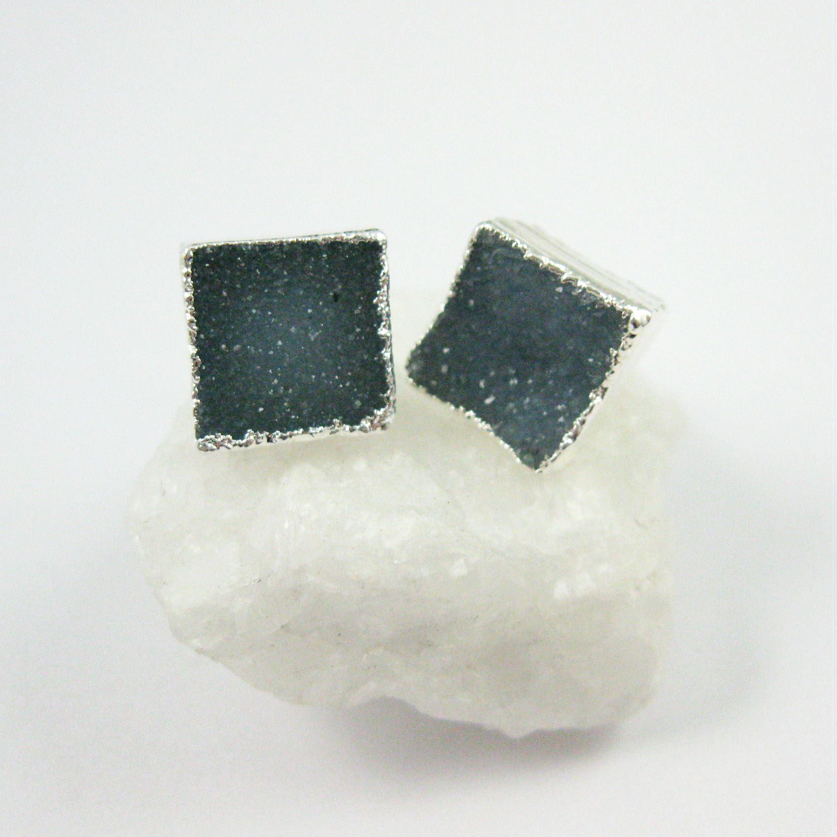 Druzy Earring Studs, Blue Grey Druzy Agate,Gemstone Stud Earrings - Sterling Silver- Square 10mm - 1 Pair