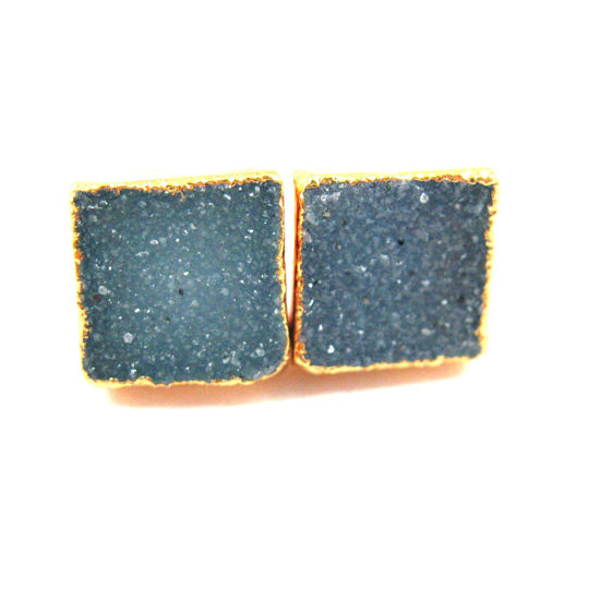 Druzy Earring Studs, Blue Grey Druzy Agate,Gemstone Stud Earrings - Gold plated Sterling Silver- Square 10mm - 1 Pair