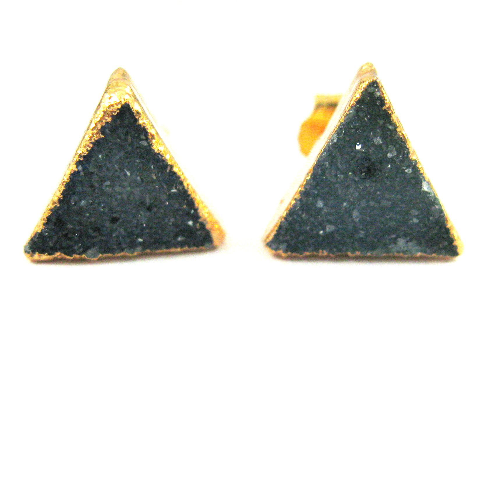 Druzy Earring Studs, Blue Grey Druzy Agate,Gemstone Stud Earrings - Gold plated Sterling Silver- Triangle 10mm - 1 Pair