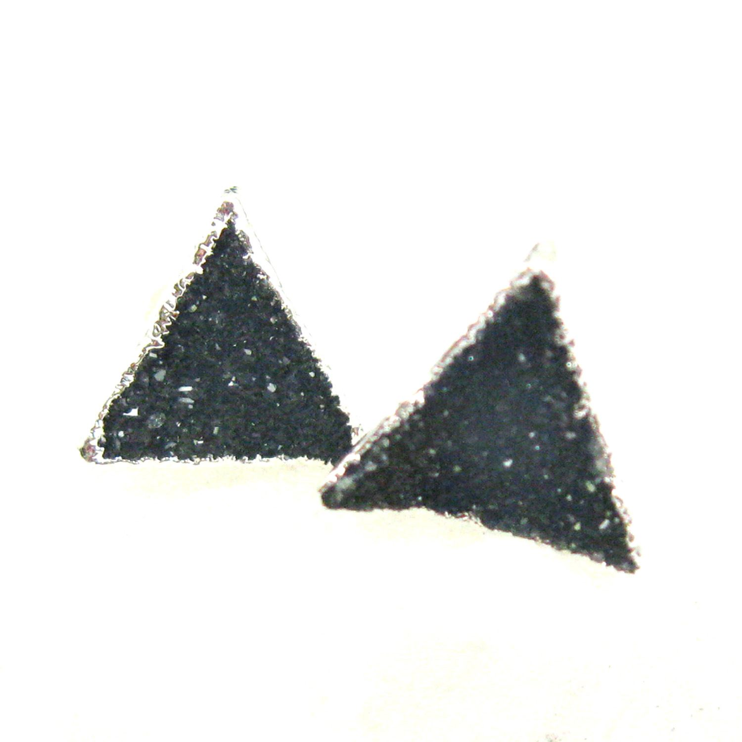 Druzy Earring Studs, Blue Grey Druzy Agate,Gemstone Stud Earrings - Sterling Silver- Triangle 10mm - 1 Pair