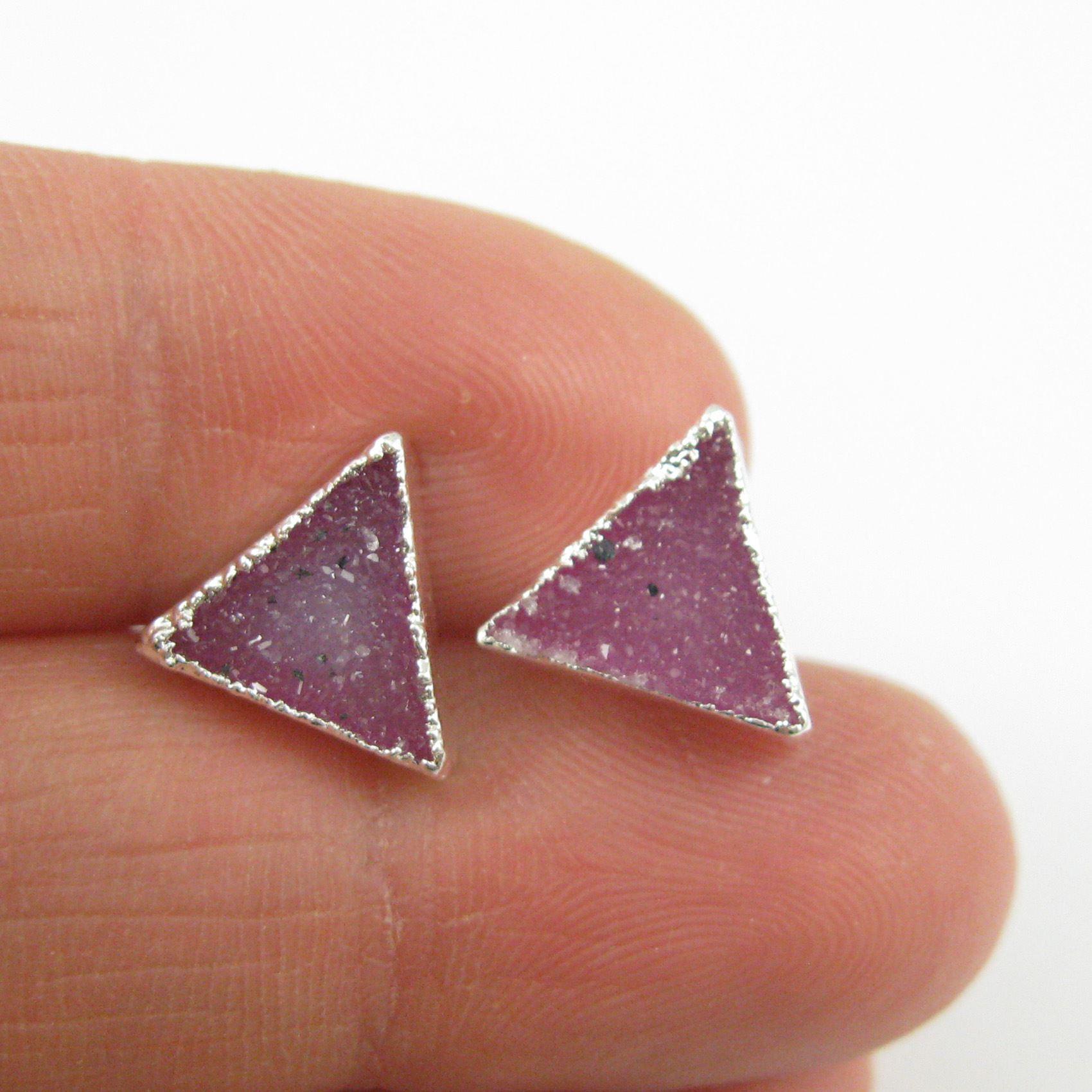Druzy Earring Studs, Pink Druzy Agate,Gemstone Stud Earrings - Sterling Silver- Triangle 10mm - 1 Pair