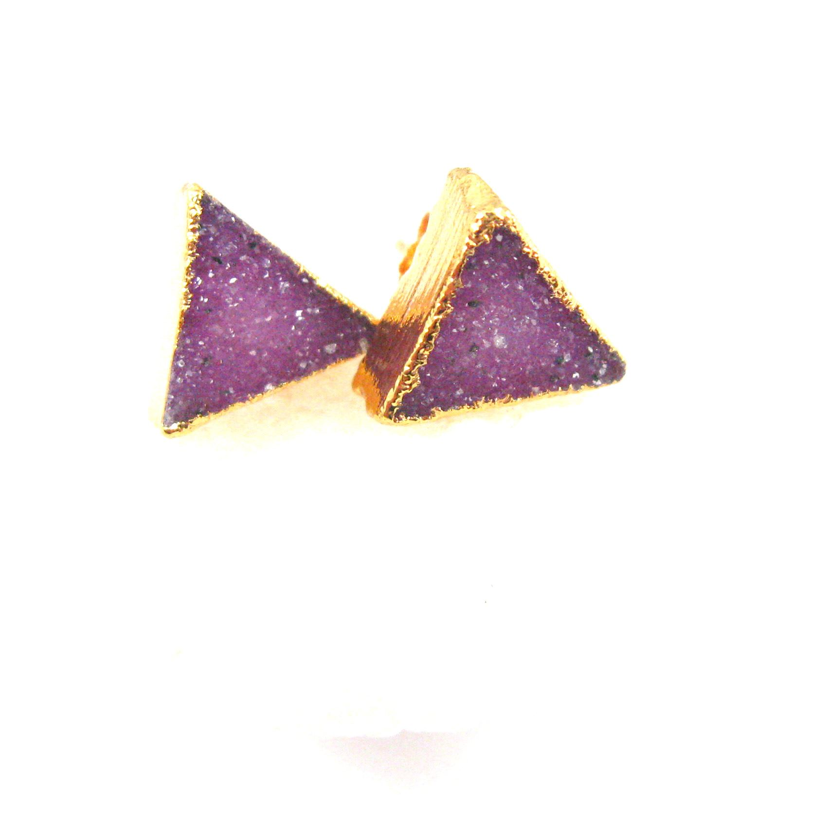 Druzy Earring Studs, Pink Druzy Agate,Gemstone Stud Earrings - Gold plated Sterling Silver- Triangle 10mm - 1 Pair