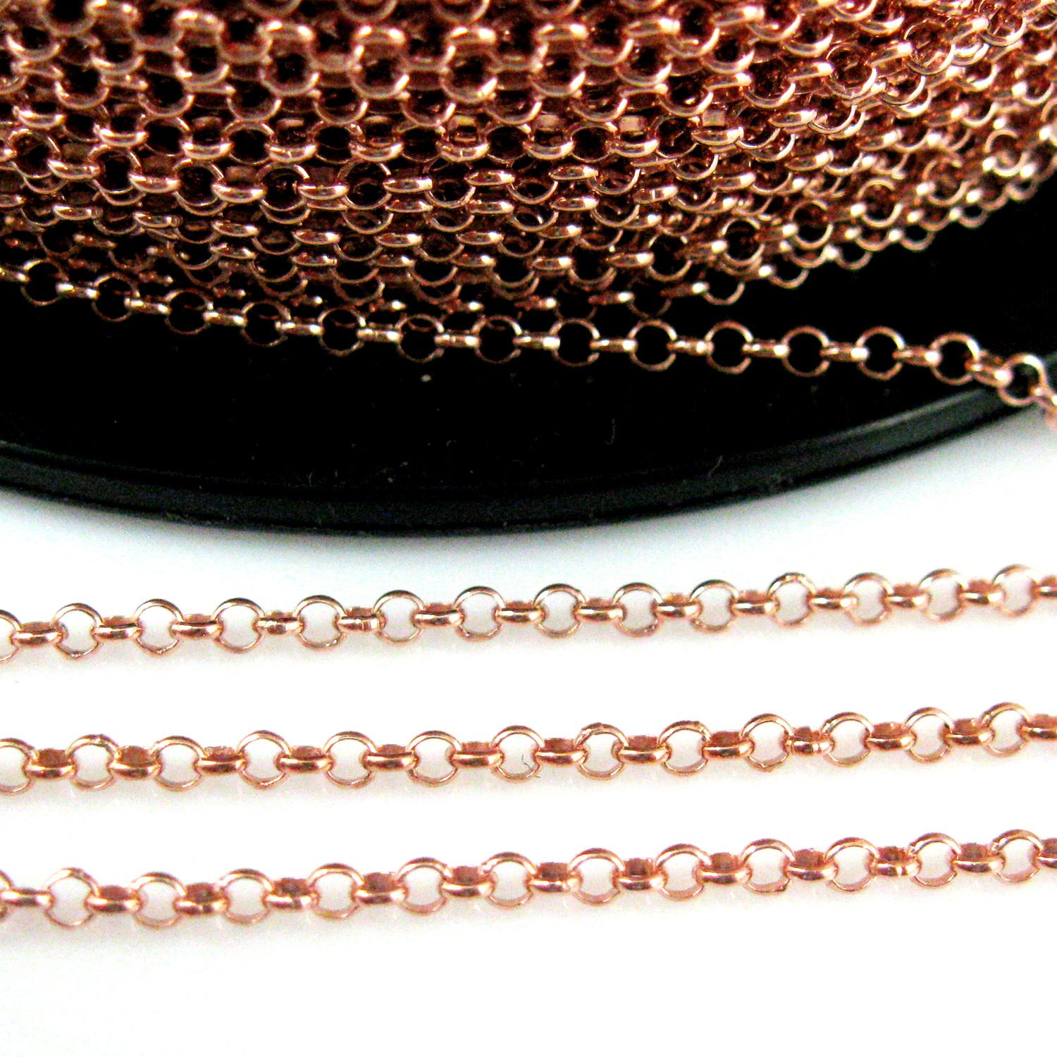 Rose Gold over Sterling Silver 2mm rolo Chain - Gold Plated over Sterling Silver Chain - 2mm Rolo Chain. Bulk Unfinished By the Foot